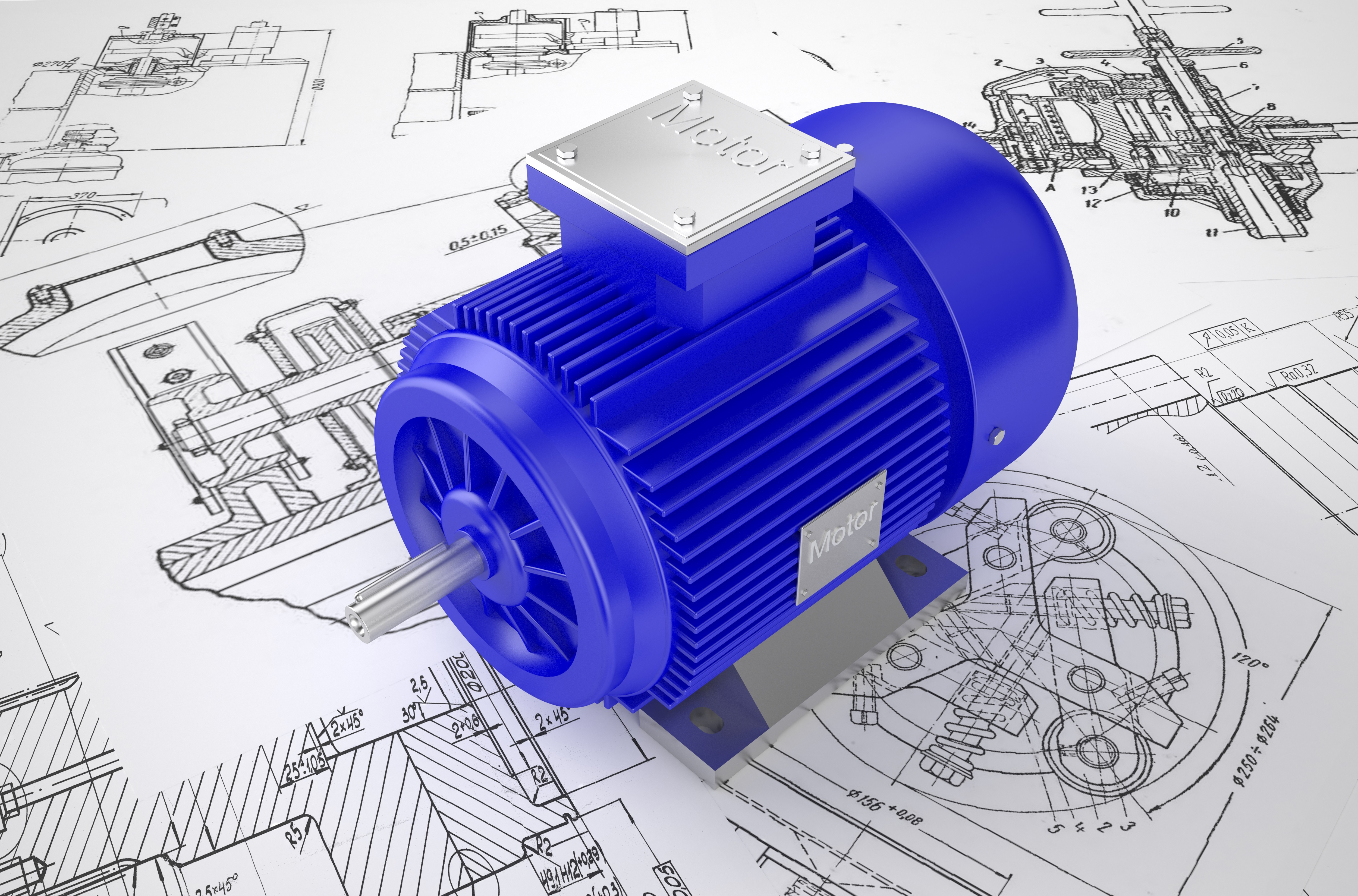Industrial blue electric motors on the drawing